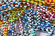 Striped Colorful Paper Clips In A Pile