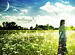 Stock Photo : Beam Pictures: Summer Time On The Meadow. Abstract Female Portrait