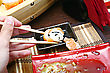 Orient Sushi And Chopsticks Close Up Japan Food stock photo