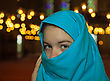 Teen Muslim Girl Covered With Hijab At A Mosque Stock Photo