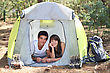 Teenagers Camping stock image
