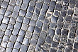 Sidewalk Texture Of Cobblestone Background In The City stock photography