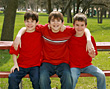 Three Brothers in Red stock photography