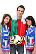 Stock Photo : Italy Pictures: Three Italian Football Supporters