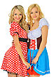 Two Beautiful Blonde Women In Carnival Costumes Of Mouse And Snow White. Isolated Image. - stock image