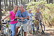 Outing Two Elderly Couples On Bike Ride stock photography