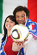 Italy Two Italian Football Supporters stock photography