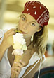 Women Portraits Woman Eating A Big Ice Cream Cone stock photography